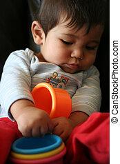 csecsemő, játék, apró