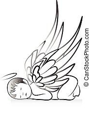 csecsemő, jel, árnykép, angyal