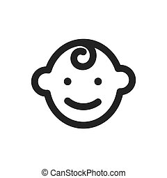 csecsemő, jelkép, vektor, ikon
