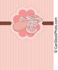 csecsemő, kártya, állás, cipők, rózsaszínű