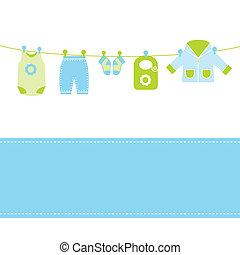 csecsemő, kártya, érkezés