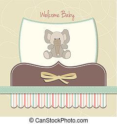 csecsemő, kártya, új, elefánt