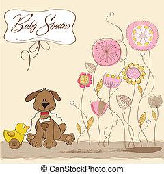 csecsemő, kártya, kacsa, zápor, kutya