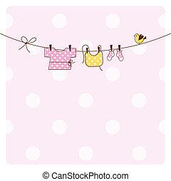 csecsemő, kártya, zápor, meghívás