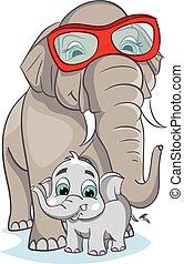 csecsemő, kép, elefánt, elephant., anya