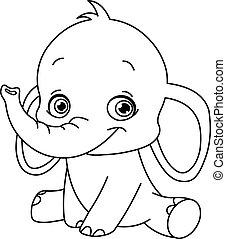 csecsemő, körvonalazott, elefánt