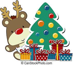 csecsemő, karácsony, rudolph