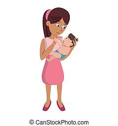csecsemő, karikatúra, anya