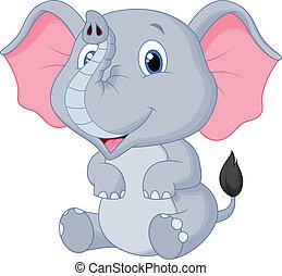 csecsemő, karikatúra, csinos, elefánt