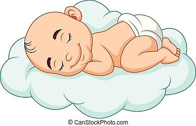 csecsemő, karikatúra, felhő, alvás