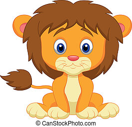 csecsemő, karikatúra, oroszlán, ülés