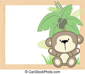 csecsemő, keret, majom