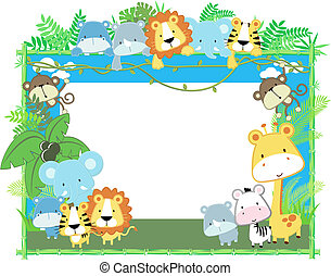 csecsemő, keret, vektor, állatok
