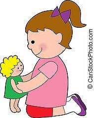 csecsemő, kicsi lány, baba