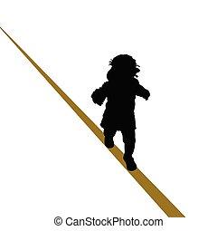 csecsemő, kifeszített kötél jár, ábra
