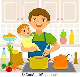 csecsemő, konyha, ember