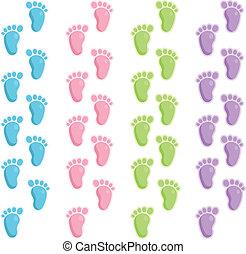 csecsemő, lábfej jár