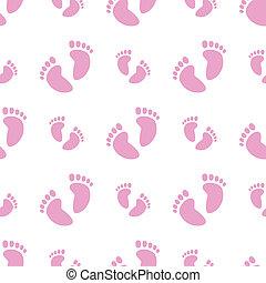 csecsemő lábfej, seamless, háttér, (girl)