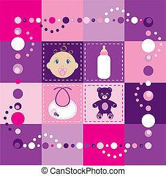 csecsemő lány, 2, paplan