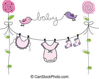 csecsemő lány, egyenes, öltözék