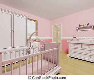 csecsemő lány, gyermekszoba