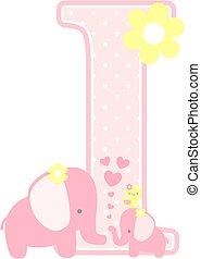 csecsemő lány, kezdő, elefánt