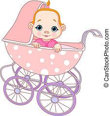csecsemő lány, kocsi