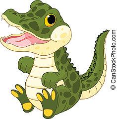 csecsemő lány, krokodil