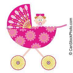 csecsemő lány, sétáló
