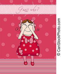 csecsemő lány, születésnap kártya