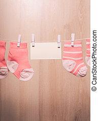 csecsemő lány, zokni