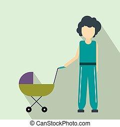 csecsemő, lakás, ikon, sétáló, anya