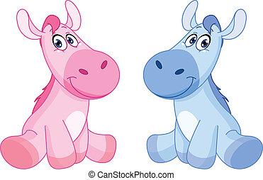 csecsemő, lovak