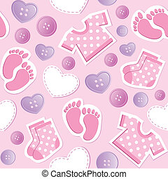 csecsemő, motívum, seamless, rózsaszínű