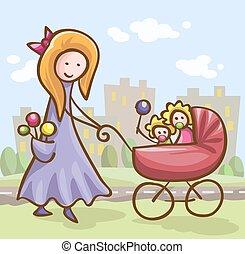 csecsemő, nő, fiatal, kocsi