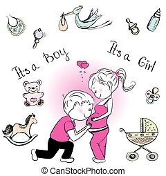 csecsemő, párosít, terhes, szerető