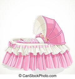 csecsemő, rózsaszínű, bölcső