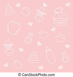 csecsemő, rózsaszínű, leány, alapismeretek, háttér