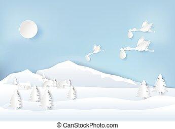 csecsemő, repülés, dolgozat, gólya, ég, falu, mód, vidéki táj, elvág, ábra, művészet