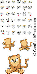 csecsemő, set5, majom, karikatúra