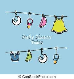 csecsemő shower, ikrek