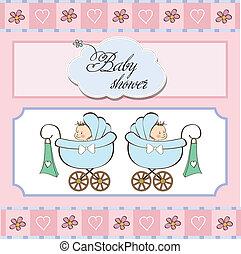 csecsemő shower, ikrek, kártya