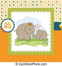 csecsemő shower, kártya, elefánt