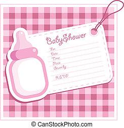 csecsemő shower, leány, card.