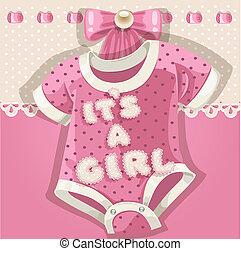 csecsemő shower, rózsaszínű, kártya