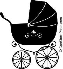 csecsemő sport babakocsi, (silhouette)
