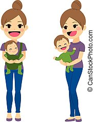 csecsemő, szállítás, anya