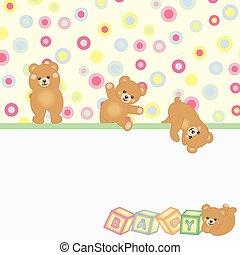 csecsemő tart, háttér, teddy-mackó