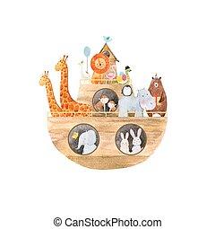 csecsemő, vízfestmény, noé, bárka