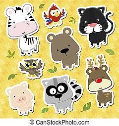 csecsemő, vektor, állatok, karikatúra